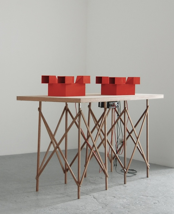 Jean-Pascal Flavien, Discussion, 2007 — Table, cardboard models, speakers, ipod, sound — 105 x 150 x 70 cm