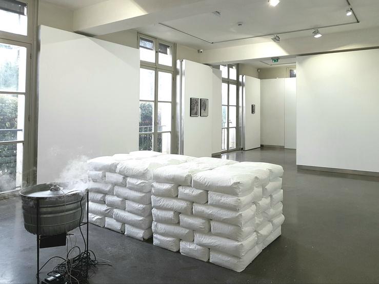 La Vérité n'est pas la vérité, vue de l'œuvre de Nina Canell dans l'exposition à la MABA de Nogent, janvier 2019