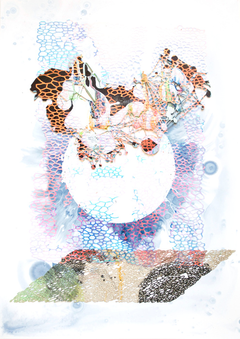 Lyndi Sales, To see without my eyes, 2018—Encre,acrylique et film transparent sur papier et carton—73 x 54 x 3,5 cm