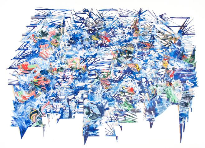Lyndi Sales, Glitch in the mesh and lace, 2018—acrylique sur carton—97 x 127 x 3,5 cm