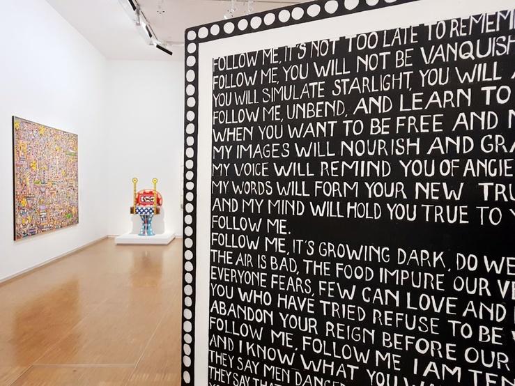 Dorothy Iannone, vue de l'exposition Toujours de l'audace au Centre Pompidou, Paris, 2019