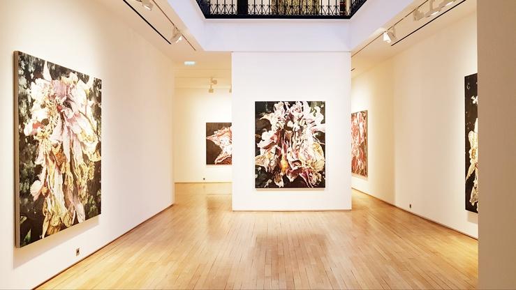 Philippe Cognée, vue de l'exposition Carne dei fiori à la galerie Templon, Paris