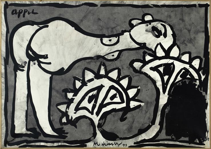 Pierre Alechinsky & Karel Appel, Femme-Elle, 1977—Encre de Chine sur vélin marouflé sur toile, 75 x 105 cm