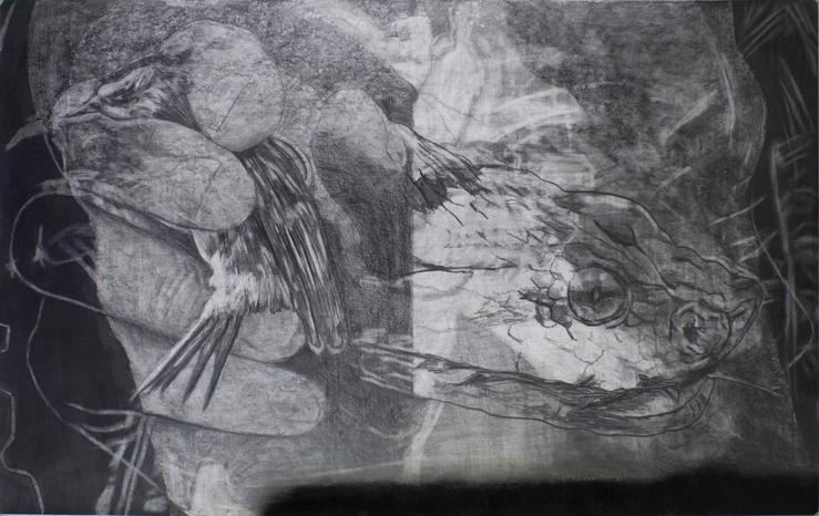 Frédéric Malette, Que les loups vivent le vent #1, 2019—Graphite, encre et colle sur papier, 140 x 88 cm