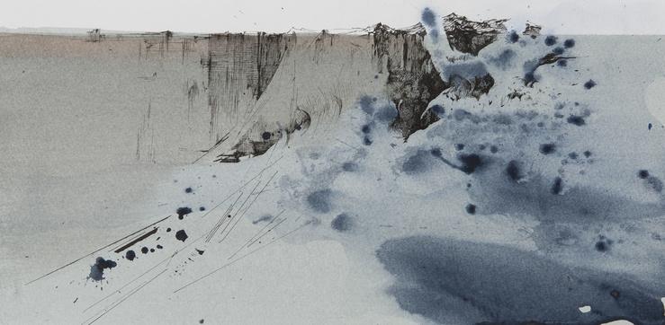 Min Jung-Yeon, L'aube à la falaise, 2020—19,8 x 40,7 cm—Encre de Chine et acrylique sur papier