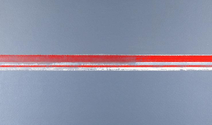 Geneviève Asse, Rouge gris, 2011 (Détail)—Huile sèche sur papier—79 × 67 cm