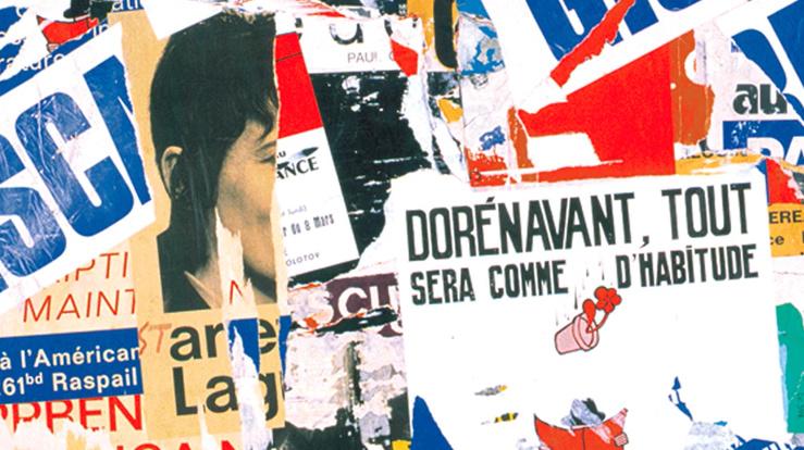 Jacques Villeglé, 99, Rue du Temple, 19 mai 1974, (Détail), 1974—PO (série Politiques)—Affiches lacérées marouflées sur toile—146 x 114 cm