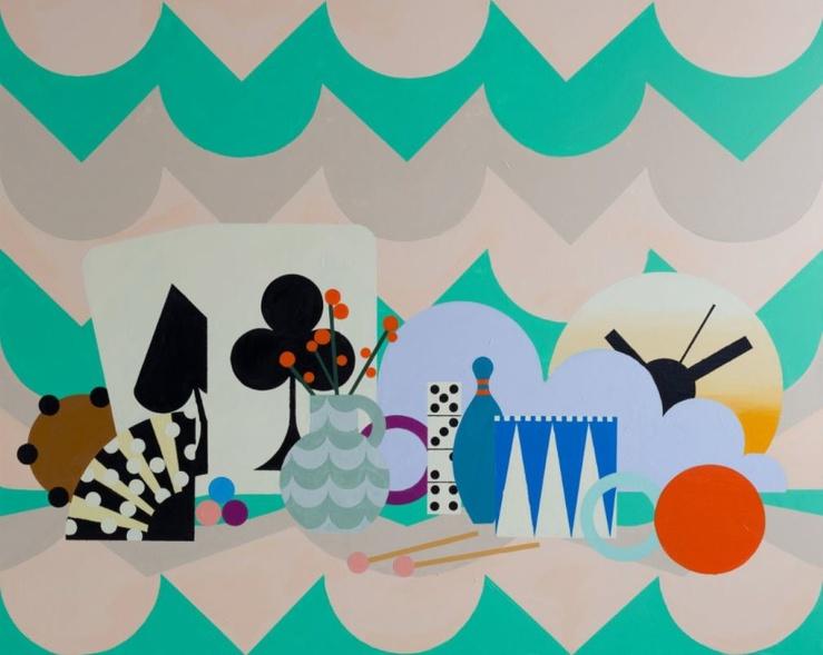 Farah Atassi, The Stage, 2020—Huile sur toile — 160 × 200 cm