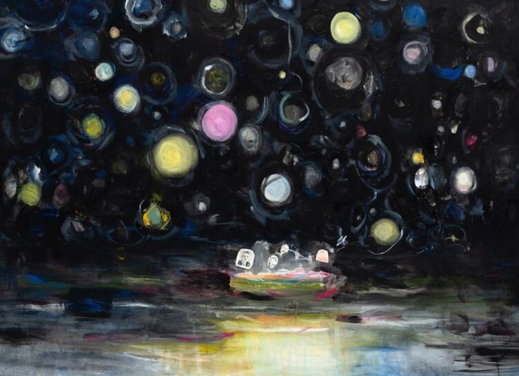Valérie Favre, Bateau des poètes (Robert Walser, Marina Iwanowna Zwetajewa, Georges Bernanos, Walter Benjamin), 2020 (Détail)—Gouache, pastel et collage sur toile, 170 x 130 cm