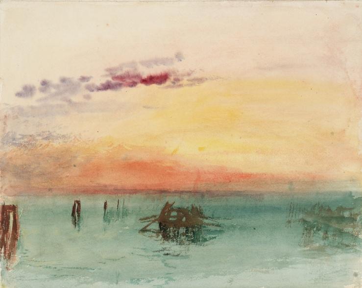 J. M. W. Turner (1775—1851), Venise : vue sur la lagune au coucher du soleil, 1840, aquarelle sur papier, 24,4 x 30,4 cm