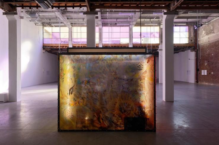 Josèfa Ntjam, Unknown Aquazone, 2020. Photomontage, impressions sur plexiglas, terre