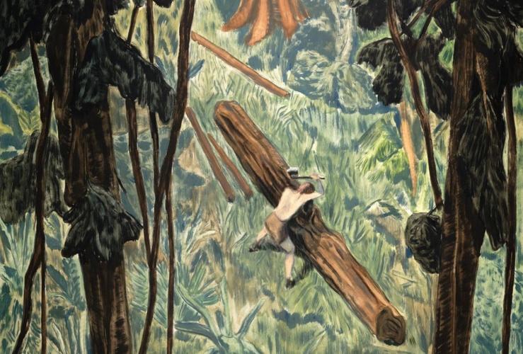 Pierre Seinturier, He was a good friend of mine (Détail), 2021—Huile sur toile, 114 x 146 cm